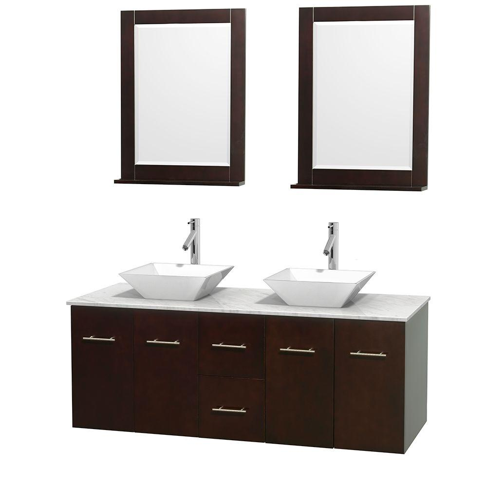 Centra 60 in. Double Vanity in Espresso with Marble Vanity Top