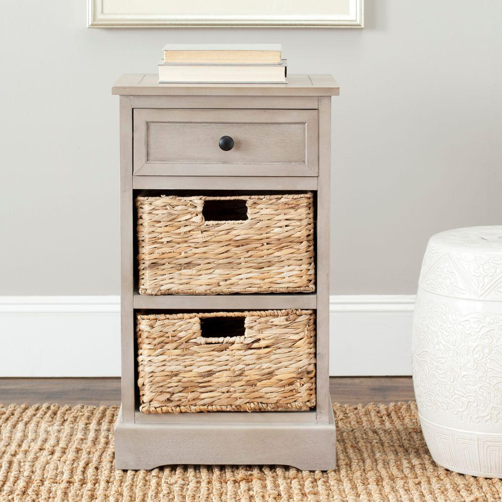 Carrie Vintage Gray Storage Side Table