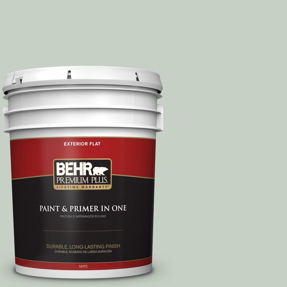 BEHR Premium Plus 5-gal. #N400-2 Frosted Sage Flat Exterior Paint