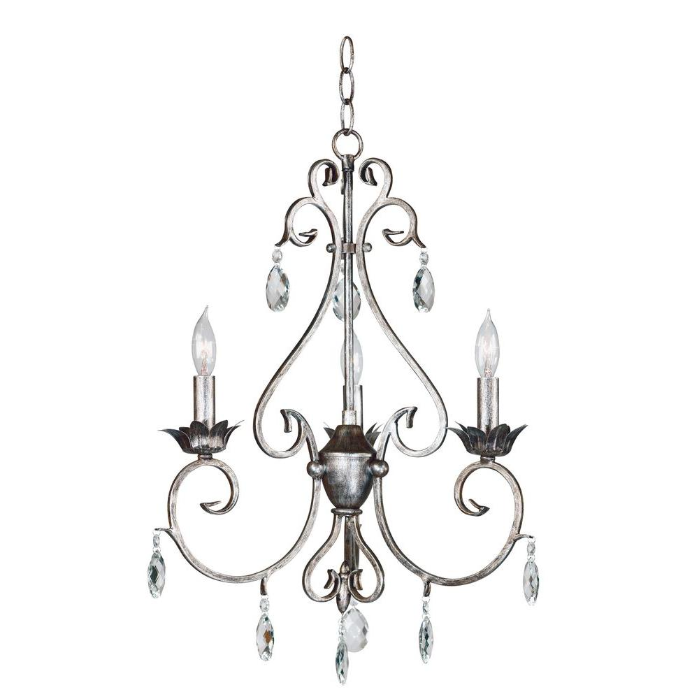 Antoinette 3-Light Weathered Silver Chandelier