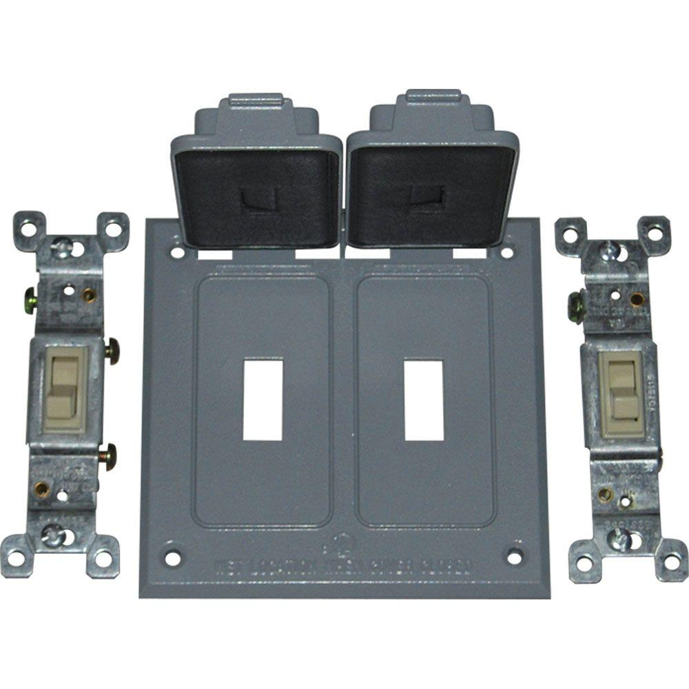 Double Weatherproof Electrical Switch Cover with Single Pole Switches - Gray
