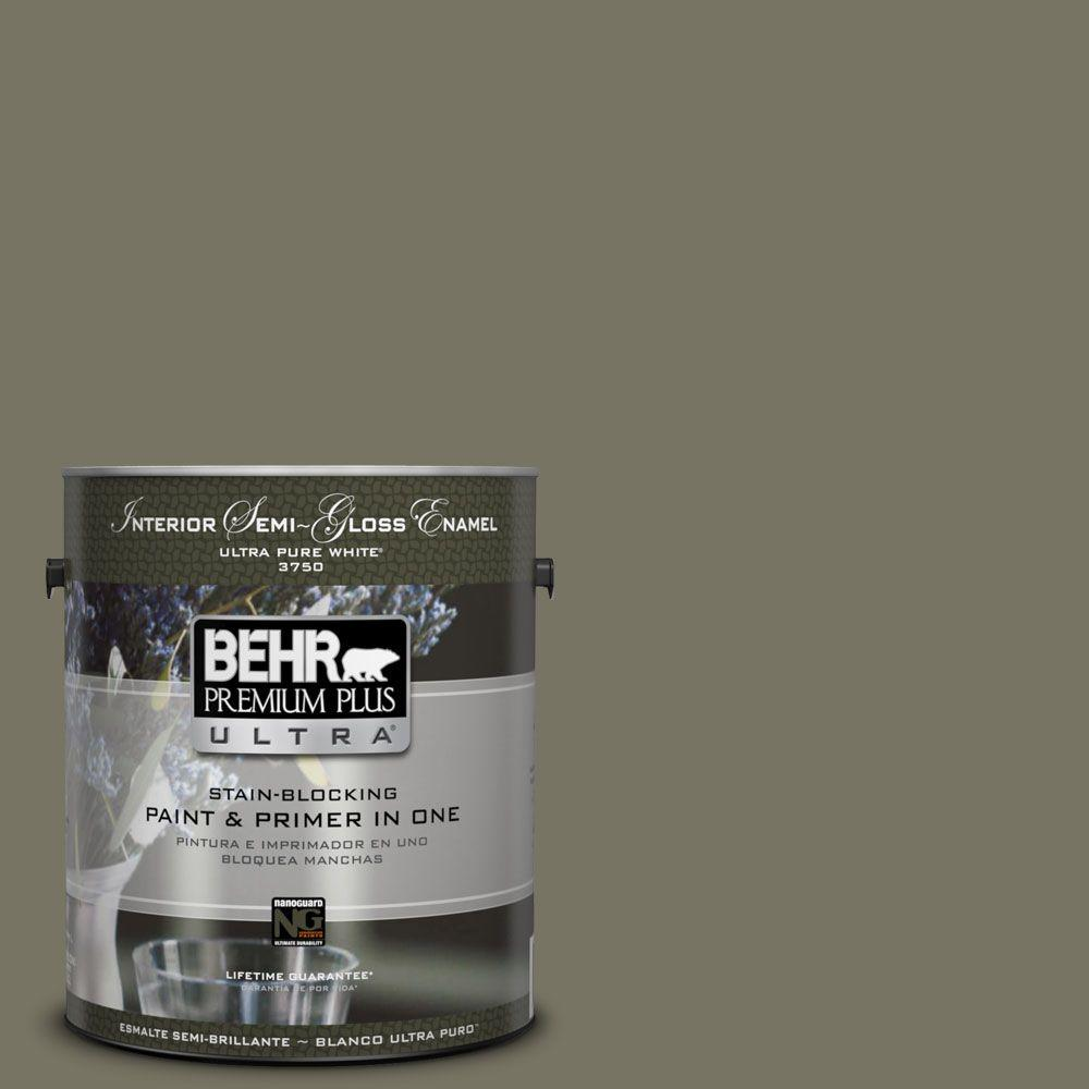Interior Paint, Exterior Paint & Paint Samples: BEHR Premium Plus Ultra Paint 1-gal. #bxc-20 Amazon River Semi-Gloss Enamel Interior Paint 375301