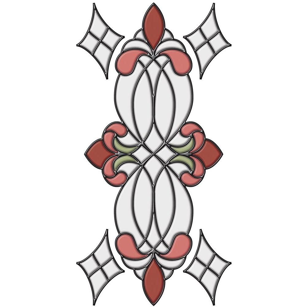 Brewster 9 in. x 17 in. Vineyard Rose Stain Glass Applique with 6 ft. of Caming Lines