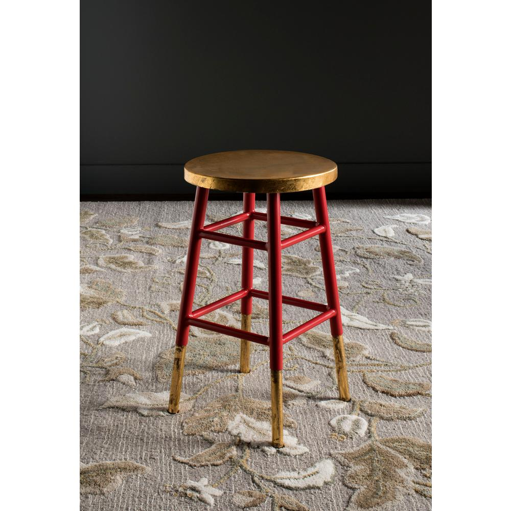 Emery 24 in. Dipped Gold Leaf Counter Stool in Red