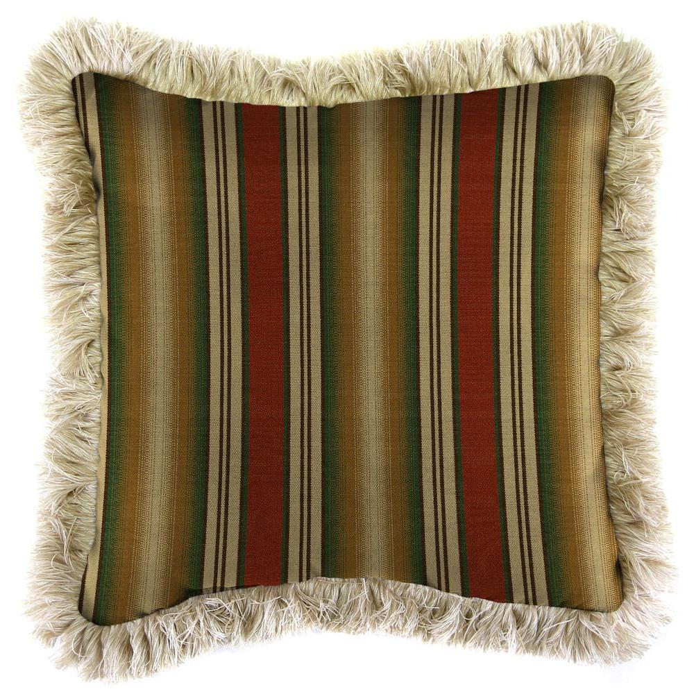 Sunbrella Weston Ginger Square Outdoor Throw Pillow with Canvas Fringe