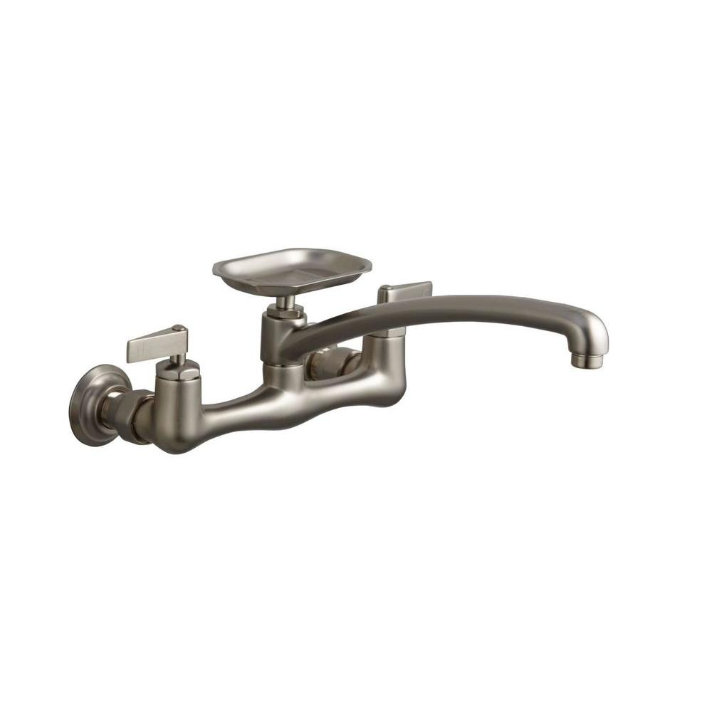 KOHLER Clearwater Wallmount 2-Handle Pull-Down Sprayer Kitchen Faucet in Vibrant Brushed Nickel-DISCONTINUED