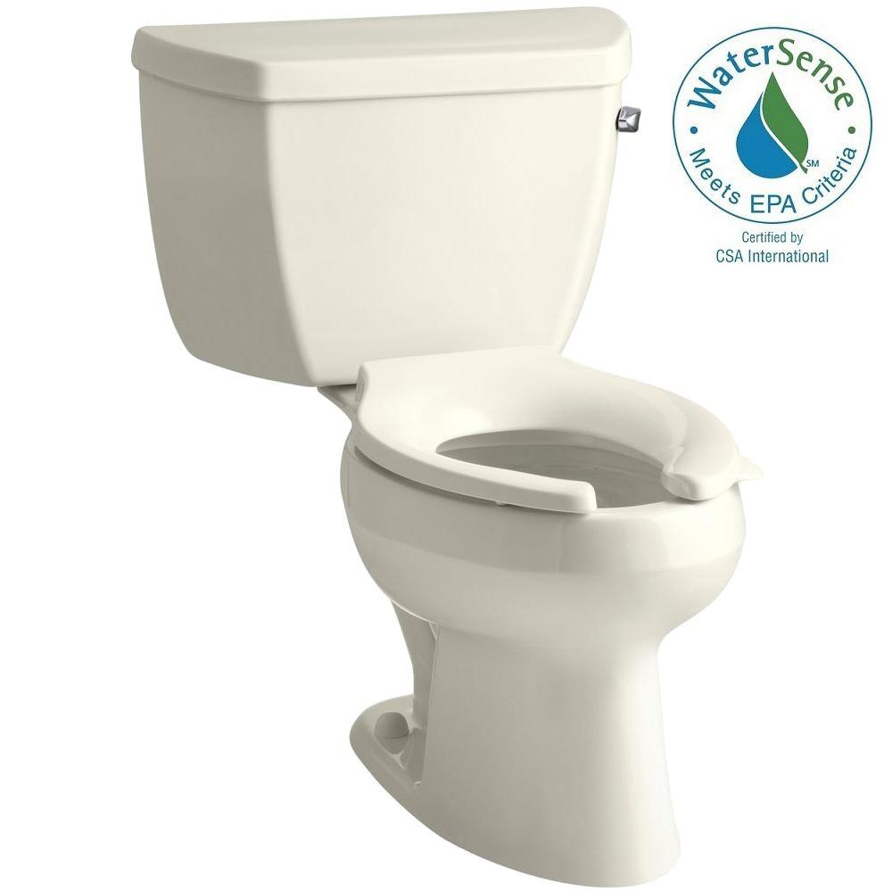 Wellworth 2-piece 1 GPF High-Efficiency Elongated Toilet in Biscuit