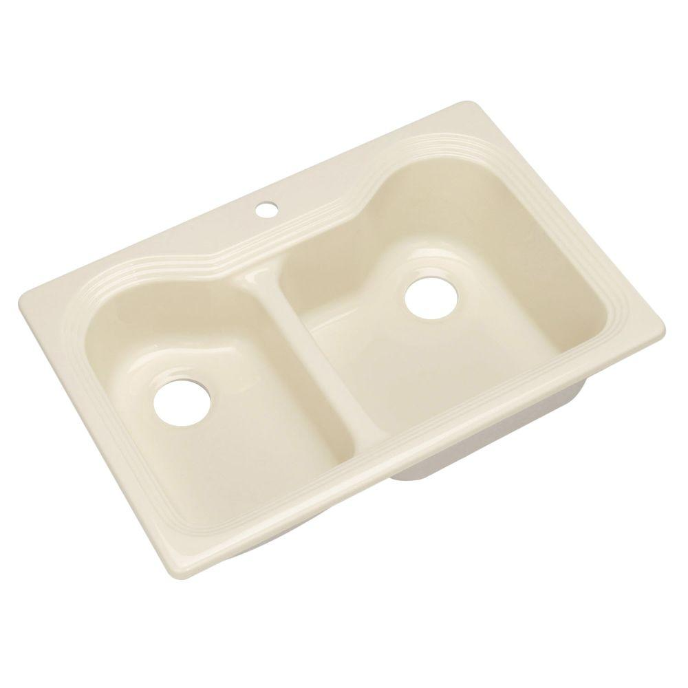 Thermocast Breckenridge Drop-In Acrylic 33 in. 1-Hole Double Basin Kitchen Sink in Jersey Cream