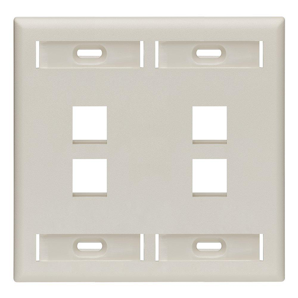 2-Gang Quickport Standard Size 4-Port Wallplate with ID Windows, Light Almond