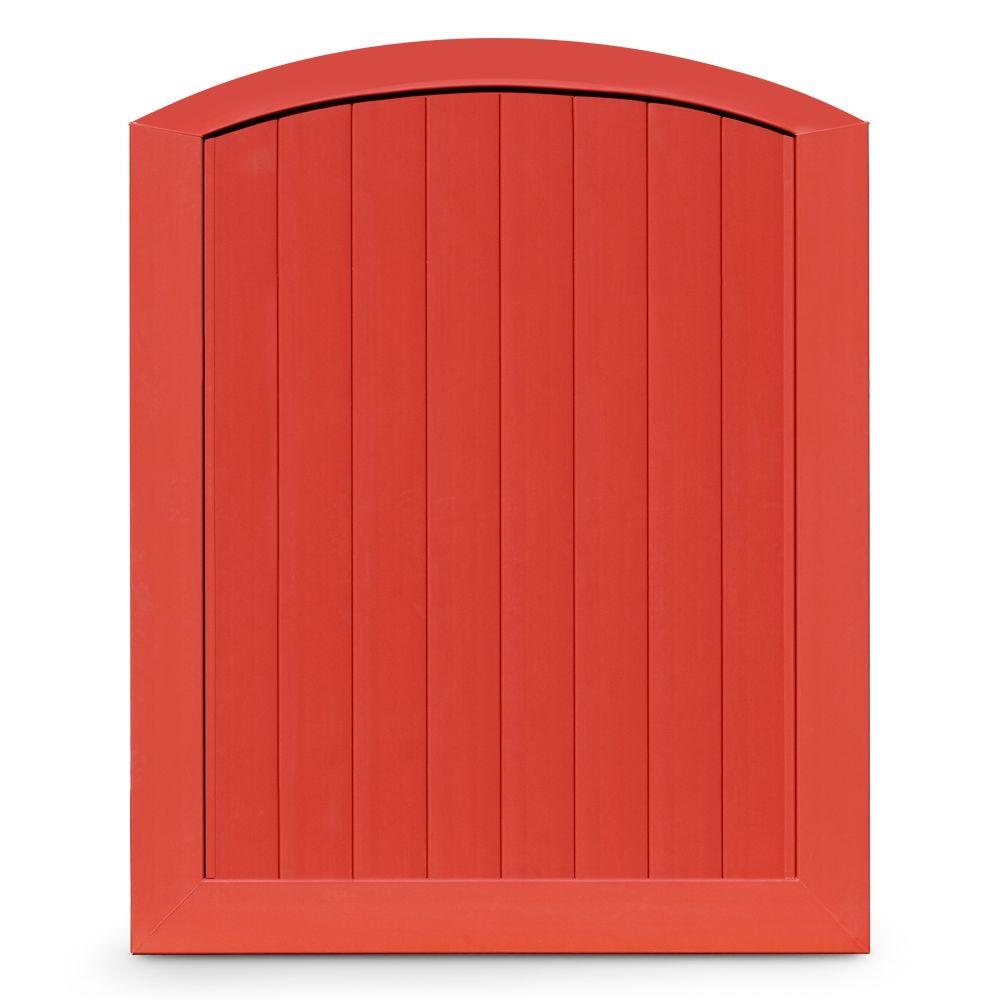 Veranda Pro Series 5 ft. W x 6 ft. H Barn Red Vinyl Anaheim Privacy Arched Top Fence Gate