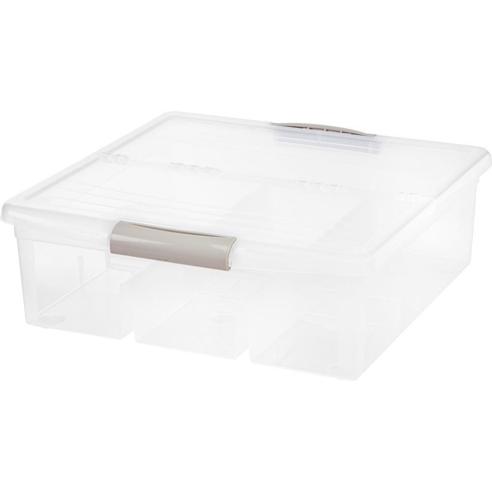 36 Qt. Large Divided Media Storage Box in Clear