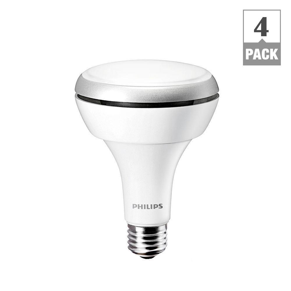 Philips 12-Watt (65W) BR30 Bright White (3000K) Indoor Dimmable LED Flood Light Bulb (4-Pack)-DISCONTINUED