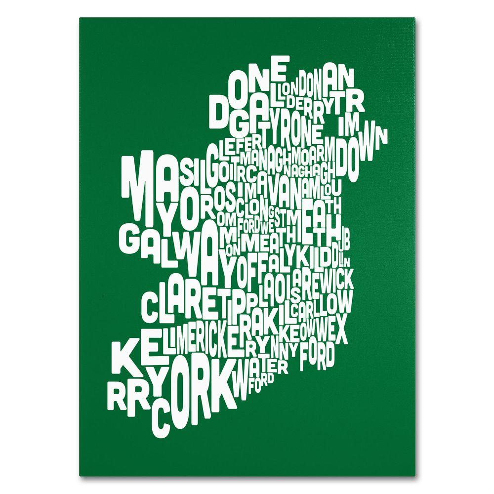 14 in. x 19 in. Ireland Text Map - Forest Canvas