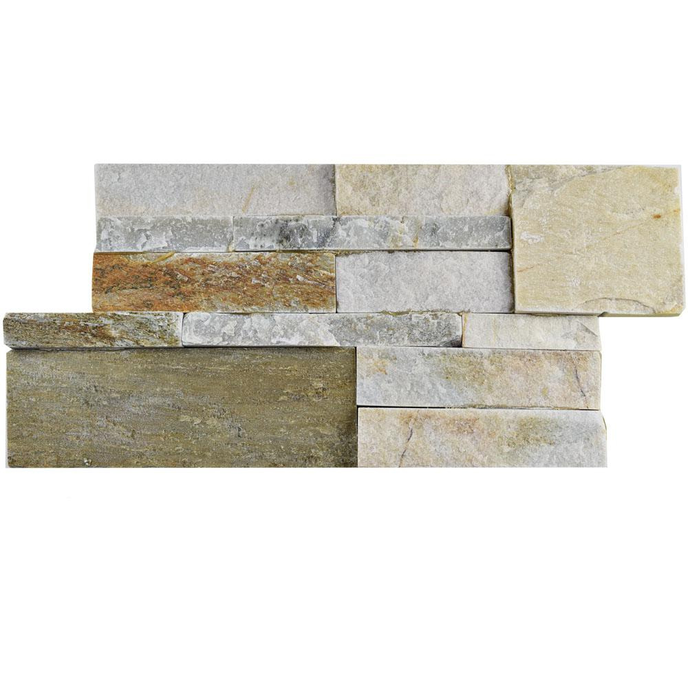 Ledger Panel Sunstone 7 in. x 13-1/2 in. Natural Quartzite Wall