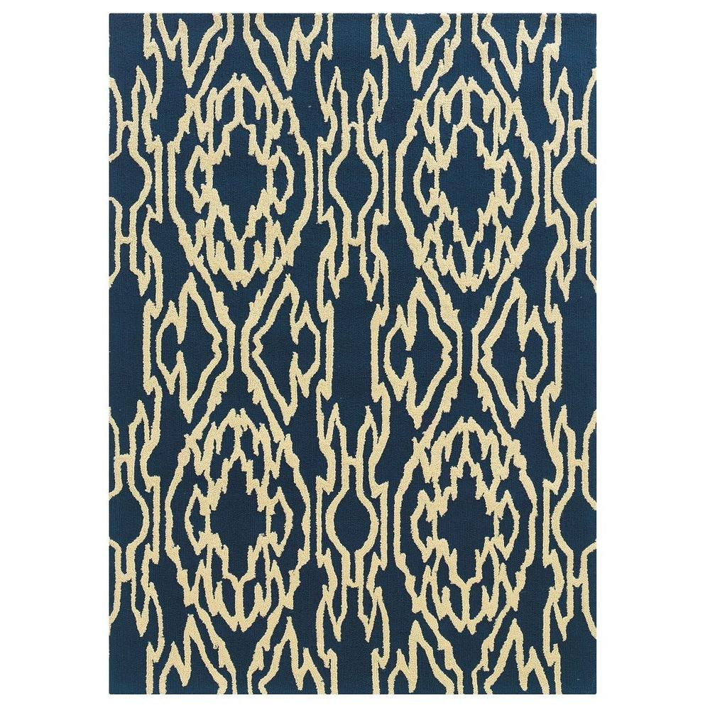 Linon Home Decor Le Soliel Collection Navy and Ivory 8 ft.