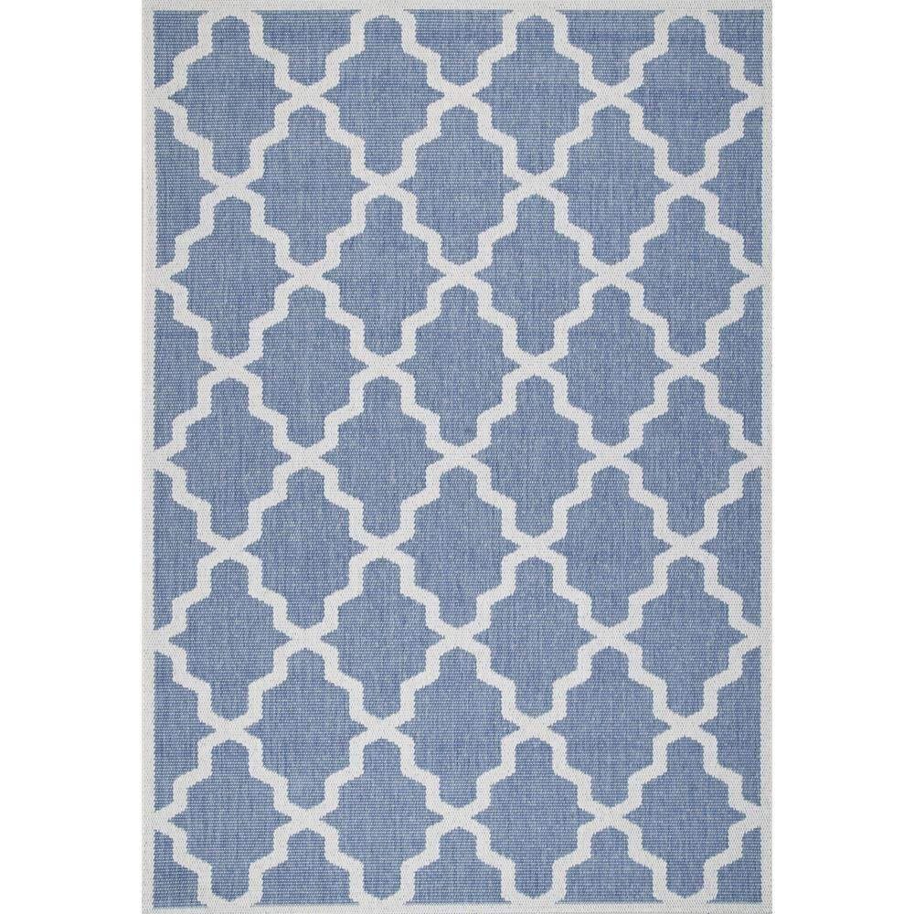 Gina Moroccan Trellis Blue 7 ft. 6 in. x 10 ft. 9 in. Outdoor Area Rug