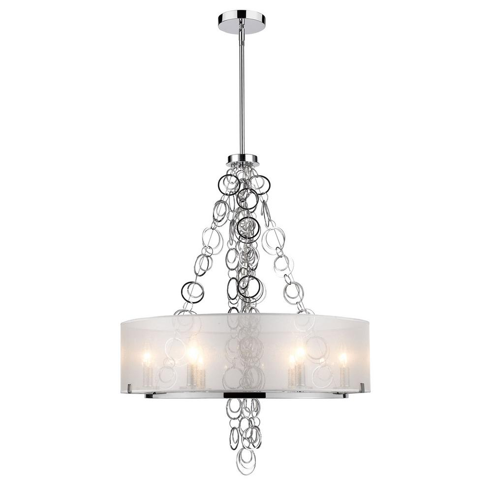 Danica 6-Light Chrome Chandelier with Sheer Opal Shade