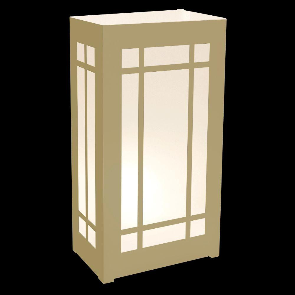 Lumabase Gold Lantern Plastic Luminaria Lanterns (Set of 12)