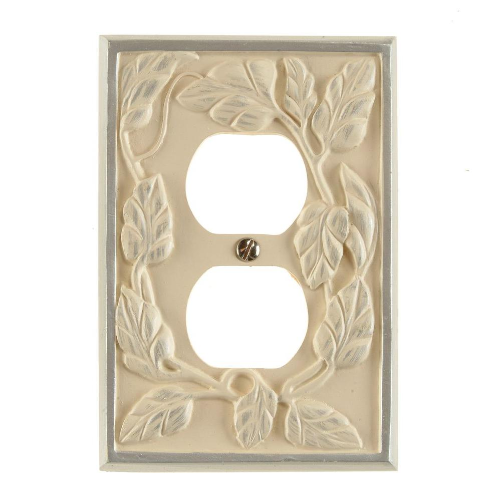 Leaf 1 Duplex Wall Plate - White