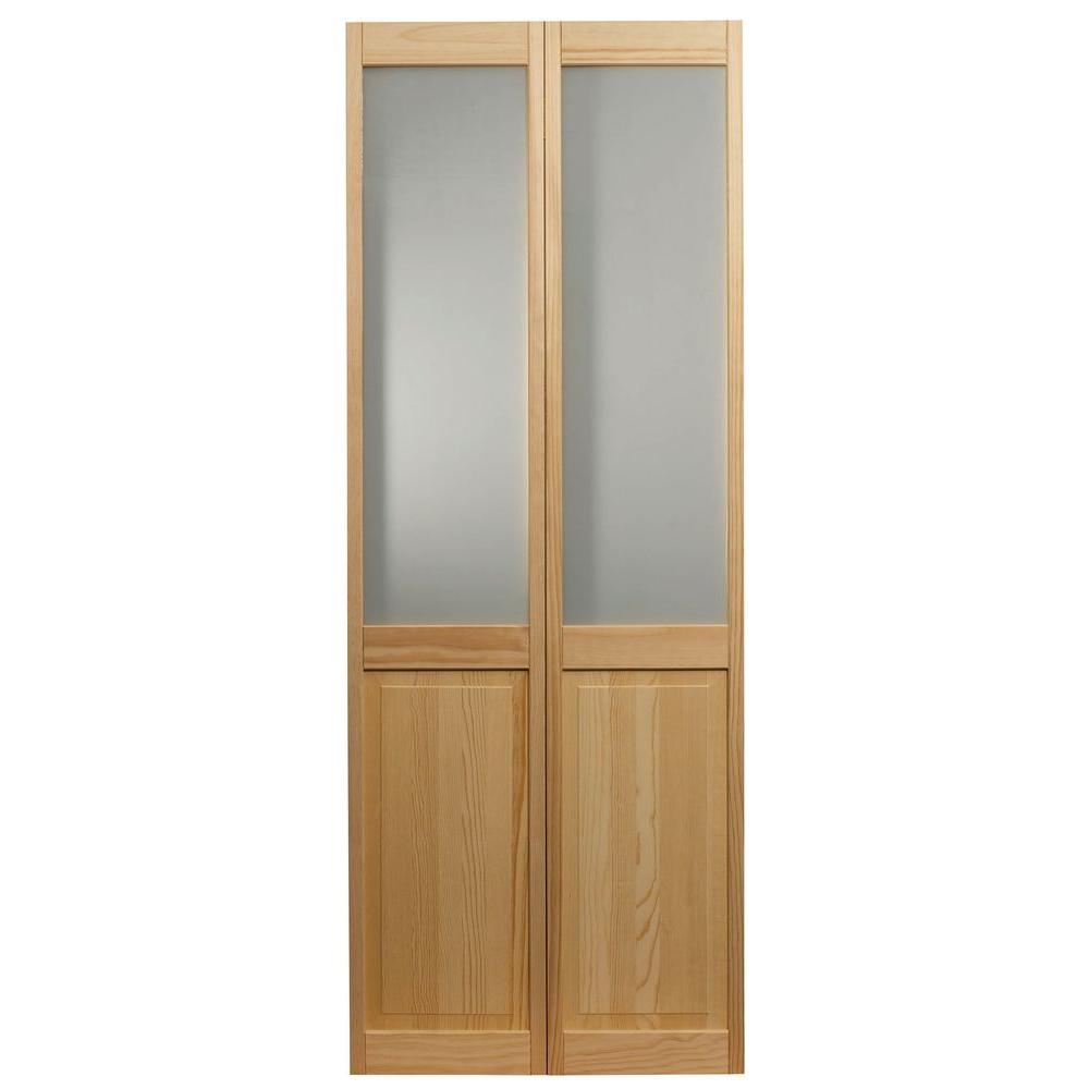 36 in. x 80 in. Frosted Glass Over Raised Panel Pine