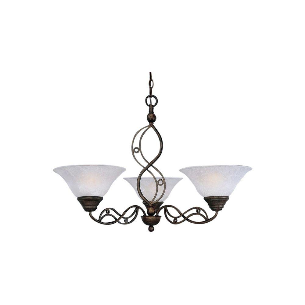 Filament Design Concord Series 3-Light Bronze Chandelier with White Marble Glass