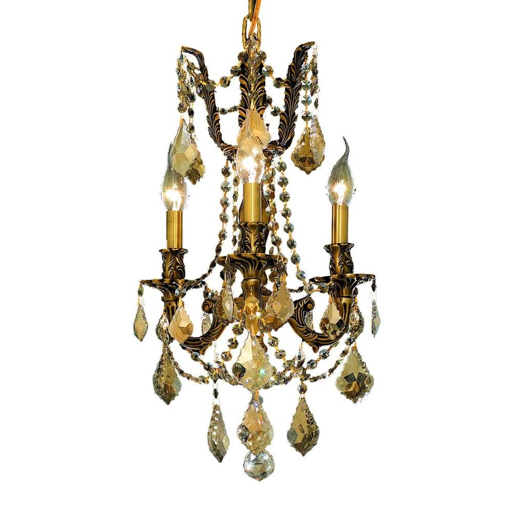 3-Light French Gold Chandelier with Golden Teak Smoky Crystal