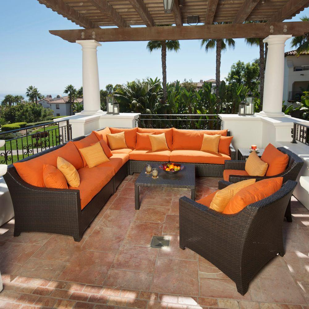 RST Brands Deco 9-Piece Patio Sectional Seating Set with Tikka Orange