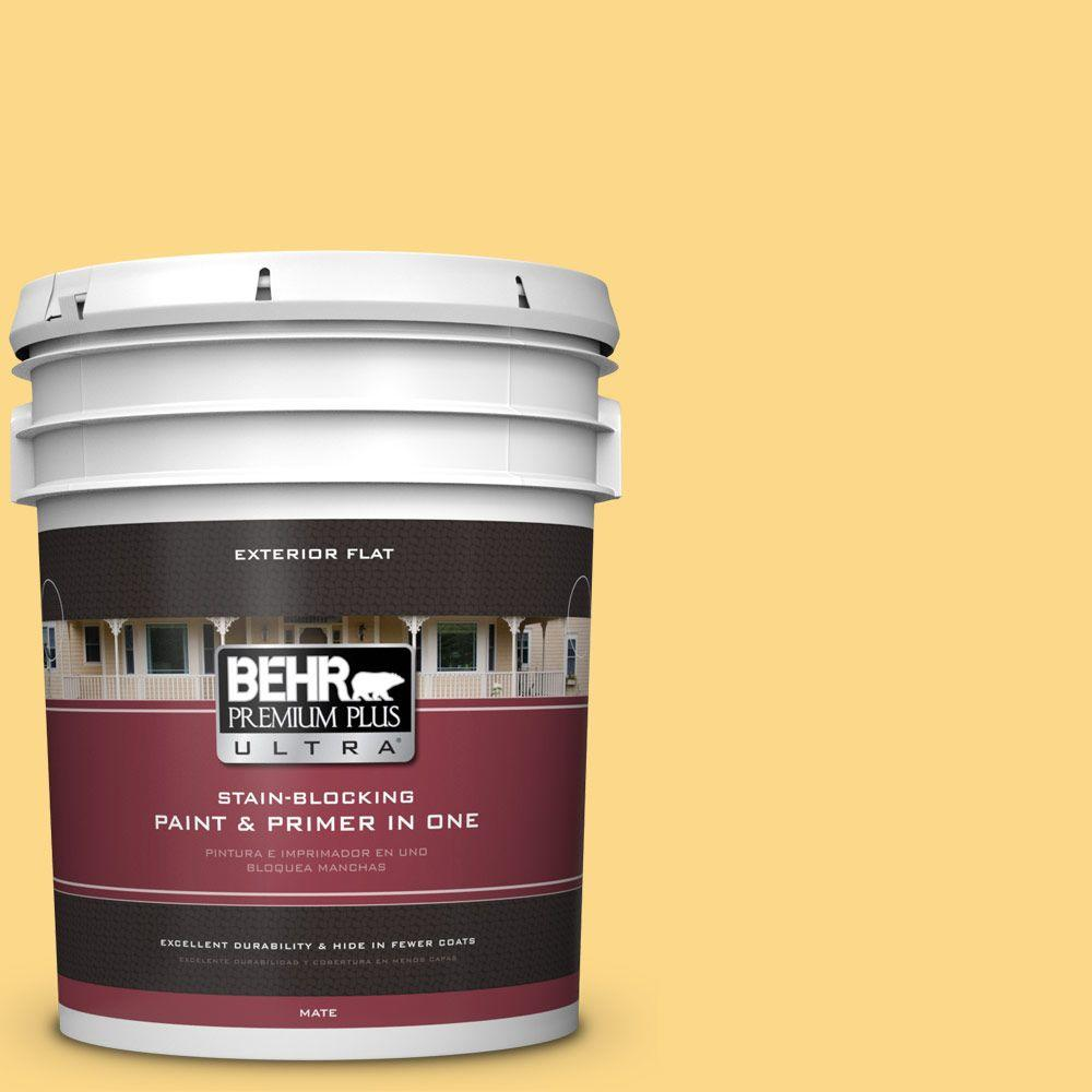 BEHR Premium Plus Ultra 5-gal. #P280-4 Surfboard Yellow Flat Exterior Paint