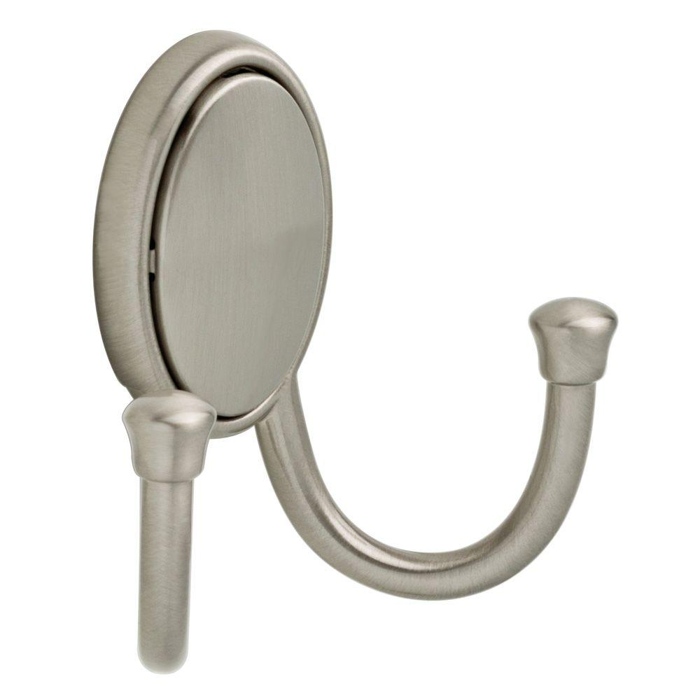 Atticus Satin Nickel Double Hook with Concealed Fasteners