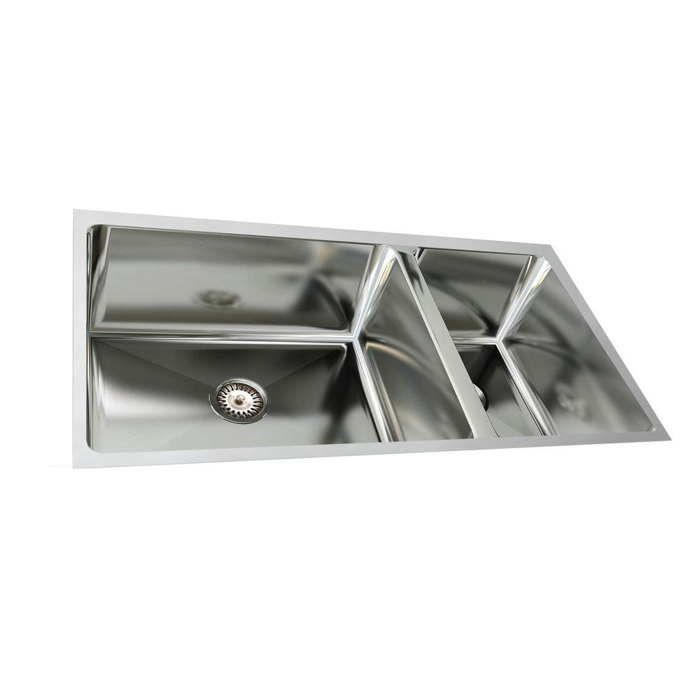 Cantrio Undermount Stainless Steel 33 in. Double Bowl Kitchen Sink