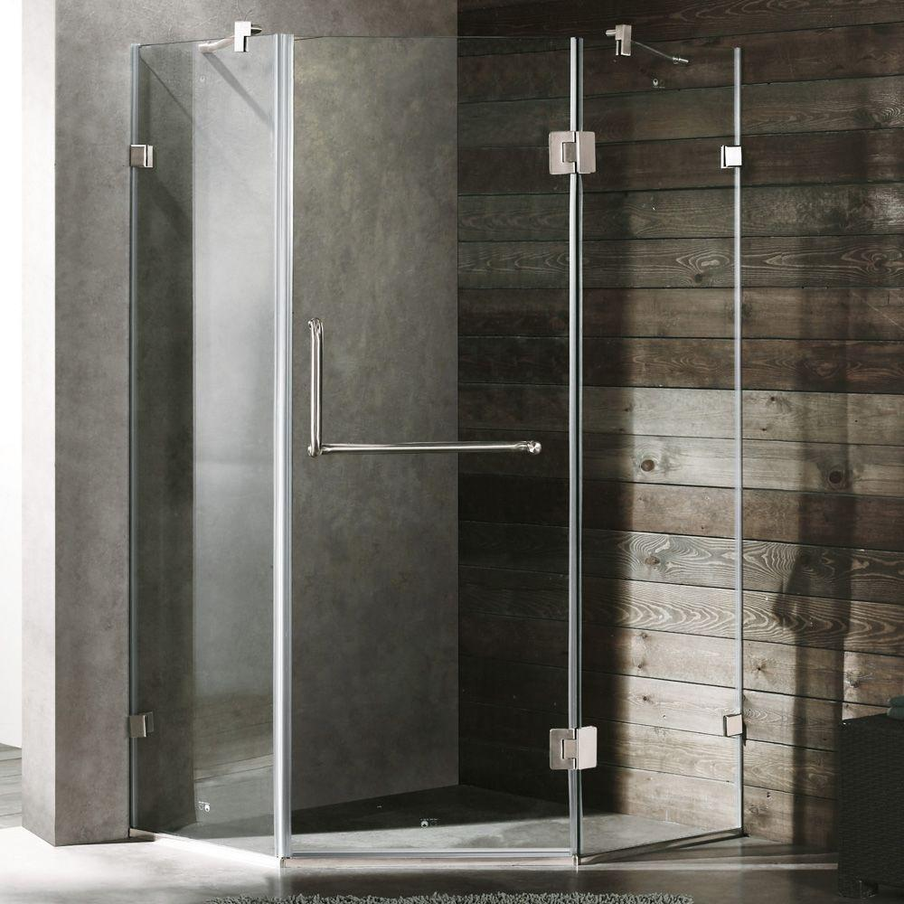 Piedmont 38.125 in. x 73.375 in. Semi-Framed Neo-Angle Shower Enclosure in Brushed Nickel and Clear Glass