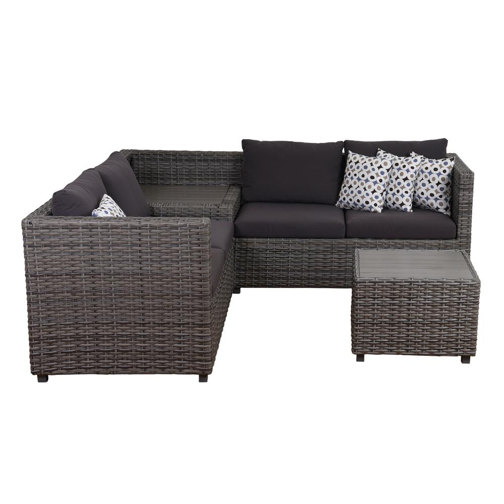 Mustang 3 Piece Synthetic Wicker Sectional Patio Set With Grey Cushions