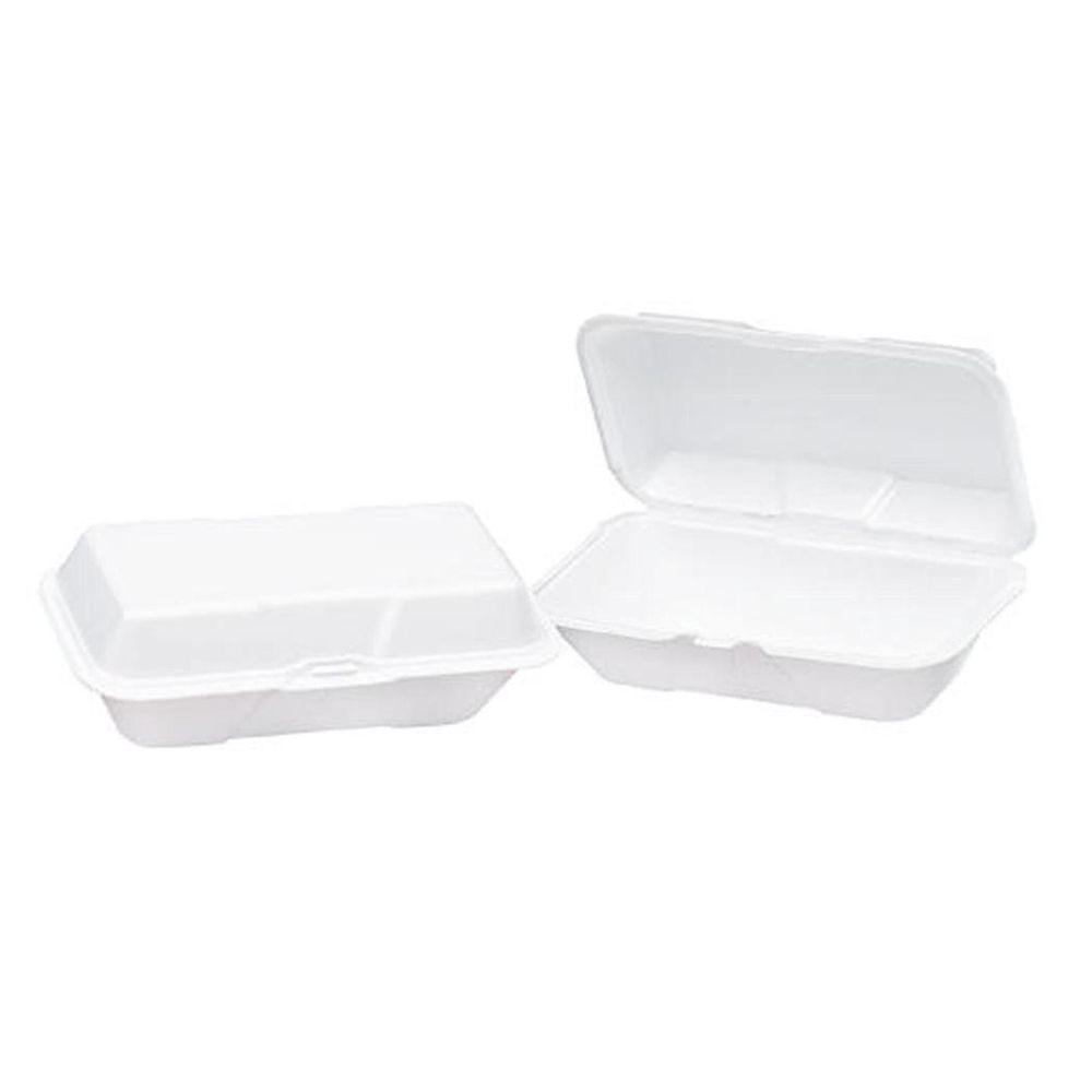 Genpak Foam Hinged Carryout Containers, 9-1/5 x 6-1/2 x 3, 1-Compartment, White (200 Count)