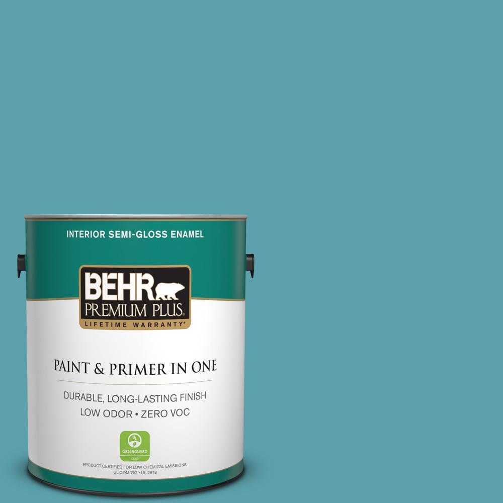1-gal. #BIC-53 Turquoise Semi-Gloss Enamel Interior Paint