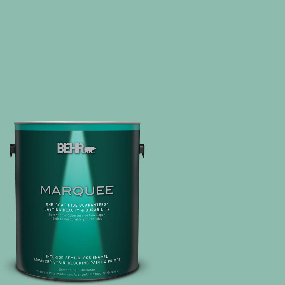 BEHR MARQUEE 1 gal. #MQ6-37 Mild Evergreen One-Coat Hide Semi-Gloss Enamel Interior Paint