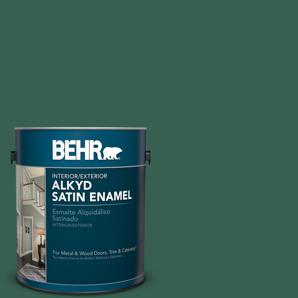 1 gal. #M430-7 Green Agate Satin Enamel Alkyd Interior/Exterior Paint