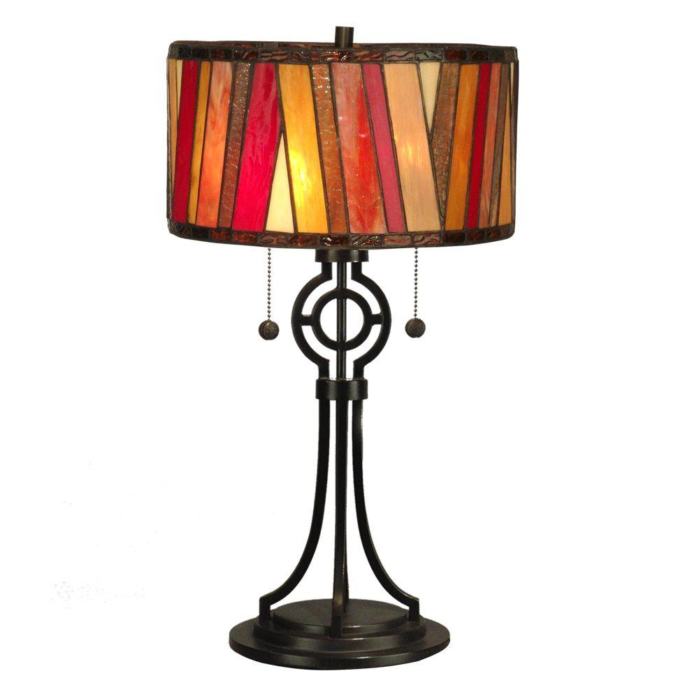Dale Tiffany Bradley 24 in. Dark Bronze Art Glass Table Lamp-DISCONTINUED