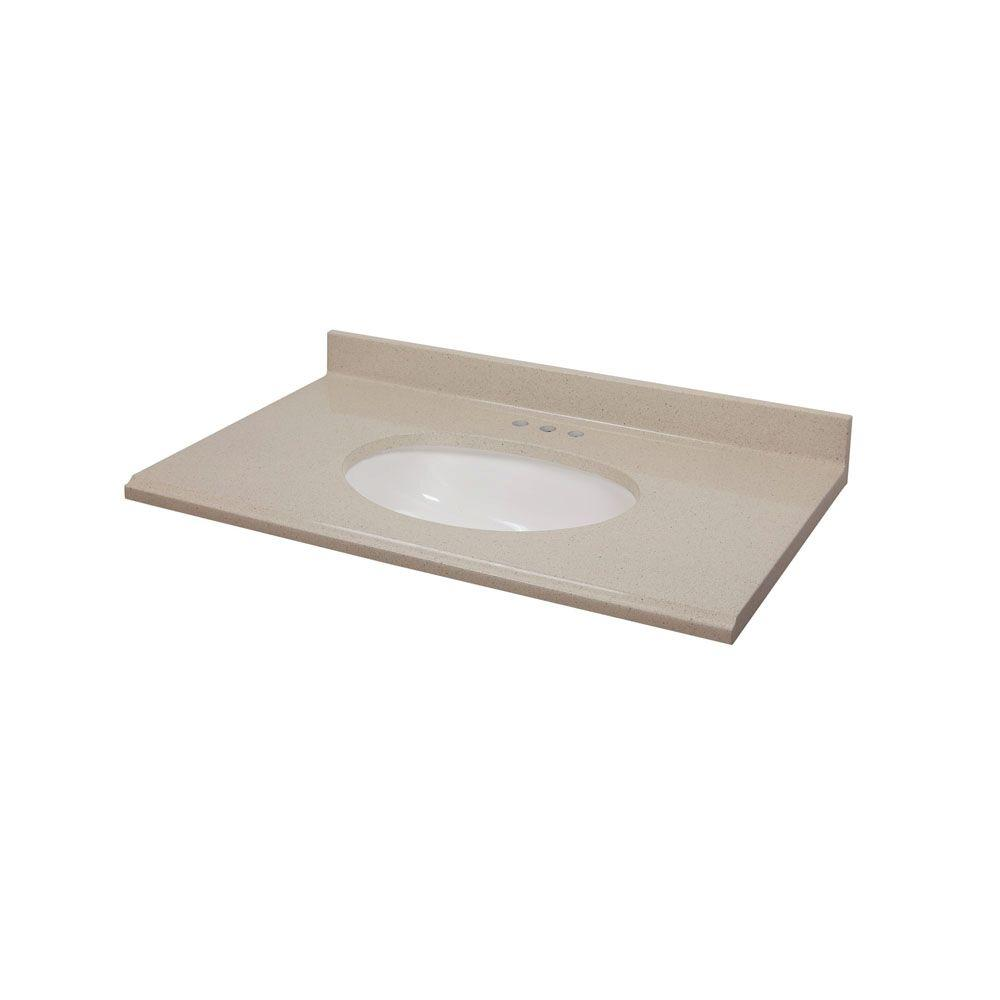 St. Paul 37 in. Colorpoint Composite Vanity Top in Beach with White Undermount Bowl