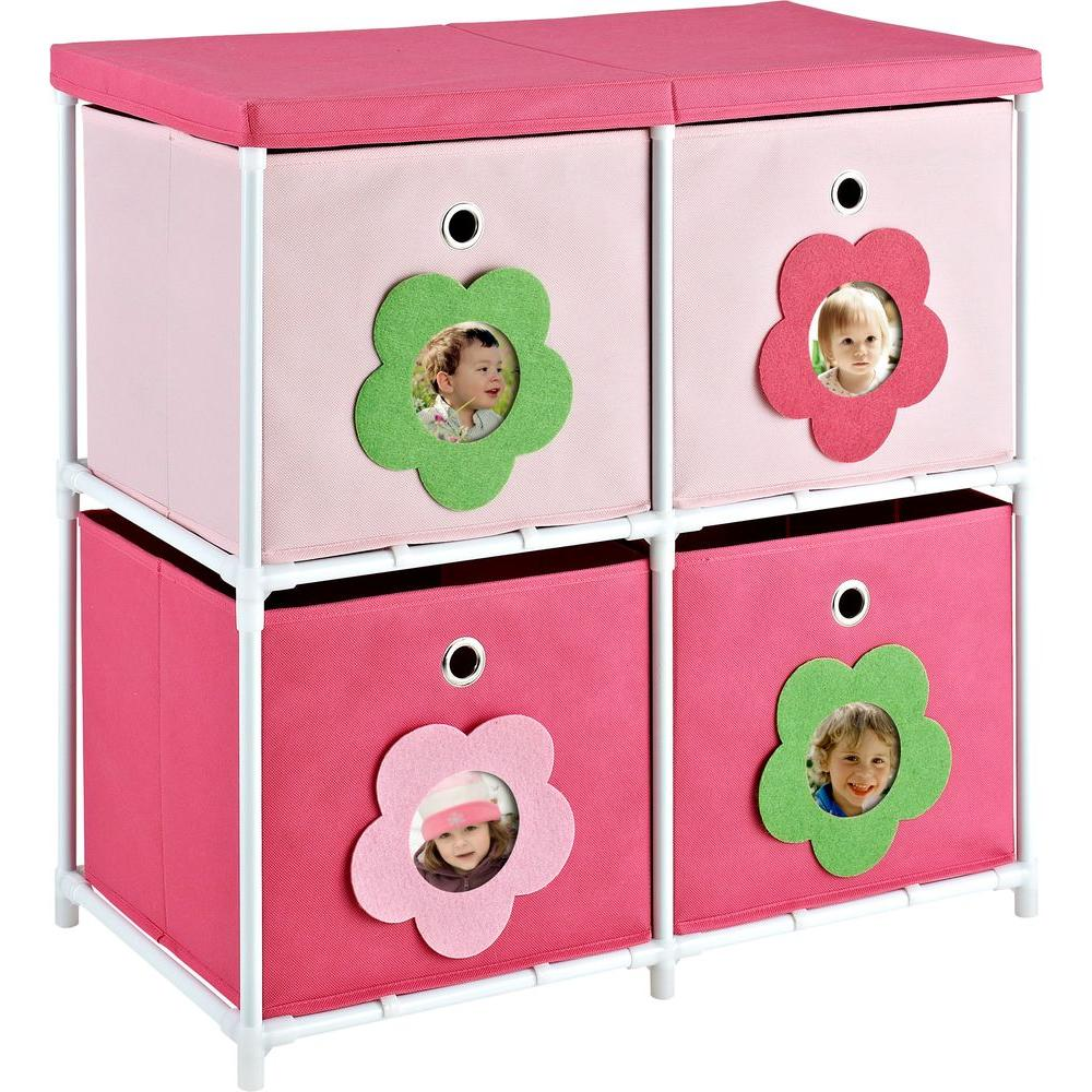 Altra Furniture 4-Bin Metal Storage Unit in Pink with Flower Theme-5816196