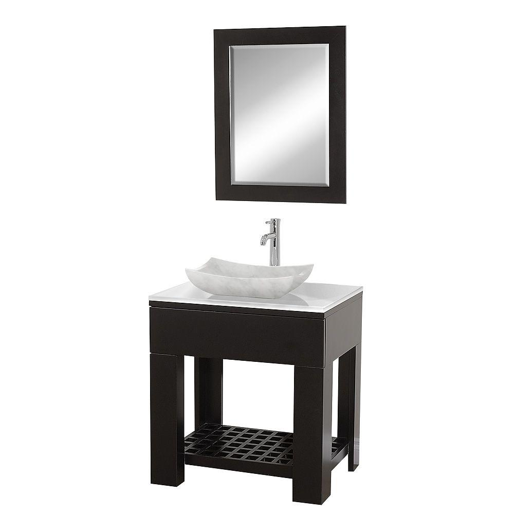 Wyndham Collection Zen 30 in. Vanity in Espresso with Glass Vanity Top in White and Mirror