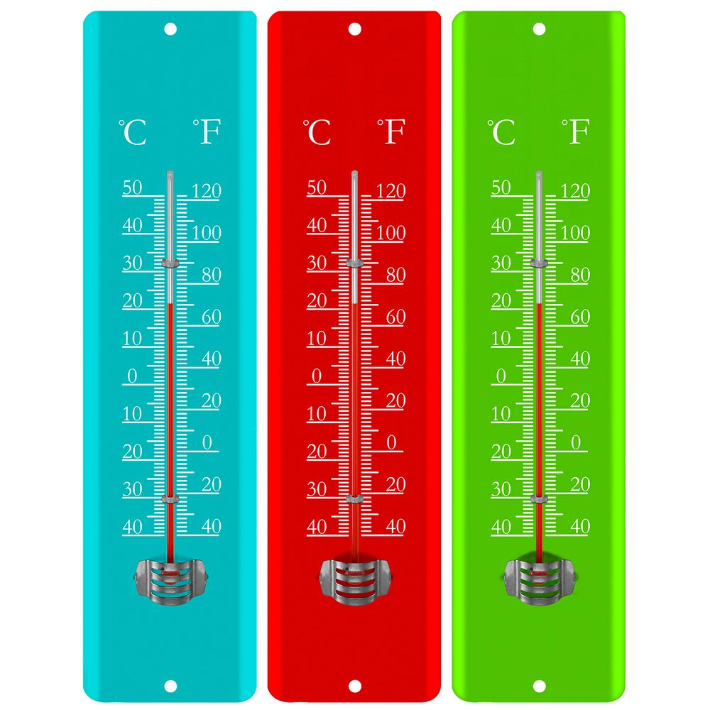 11.8 in. Analog Metal Thermometer in 3 Assorted colors