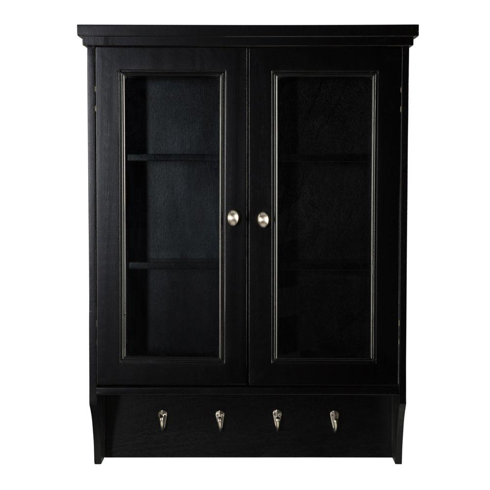 Black bathroom wall cabinet with glass doors bar cabinet for Black cabinet with doors