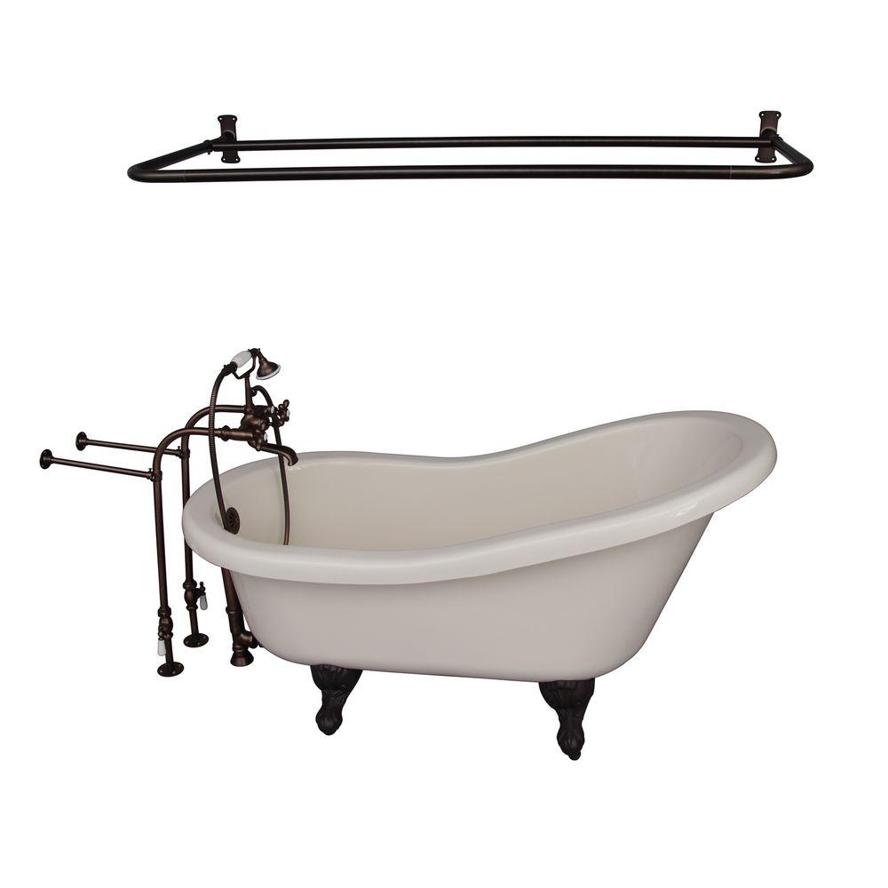 Barclay Products 5 ft. Acrylic Ball and Claw Feet Slipper Tub in Bisque with Oil Rubbed Bronze Accessories