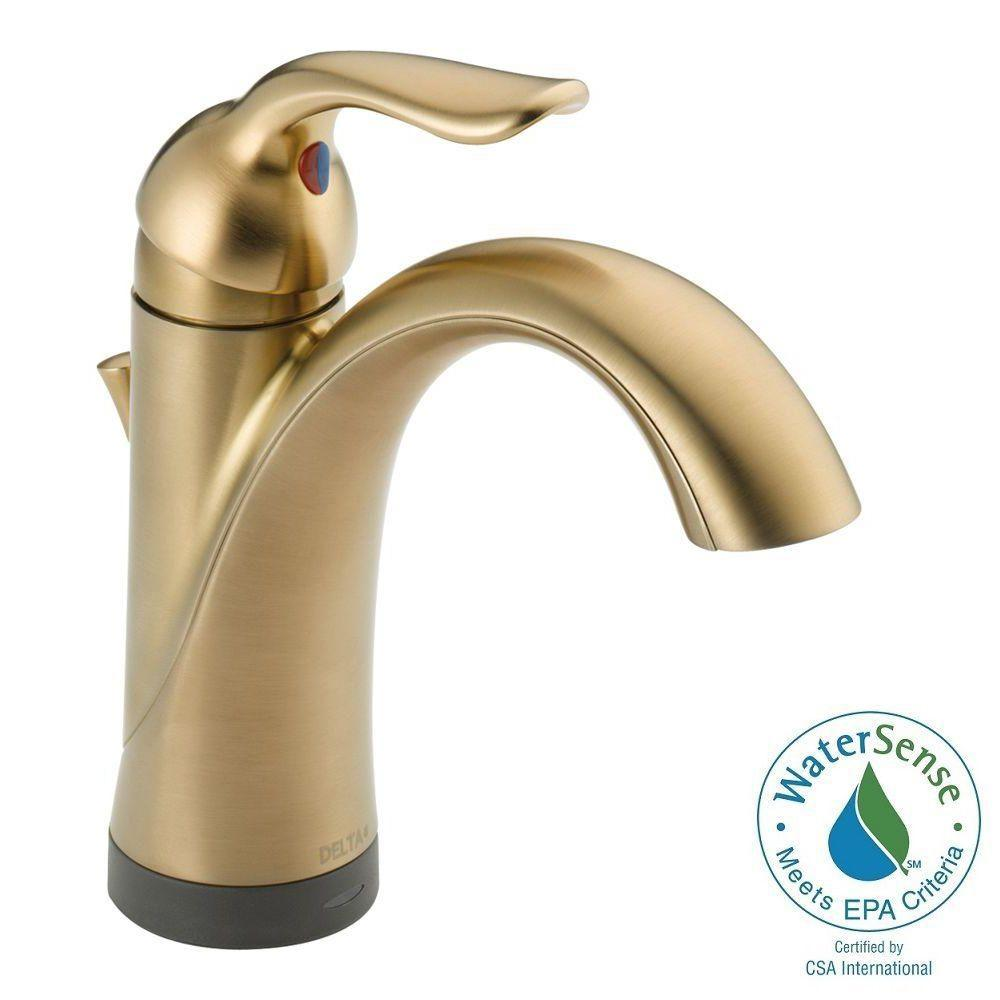 Delta Lahara Single Hole Single-Handle Bathroom Faucet in Champagne Bronze with Touch2O.xt Technology