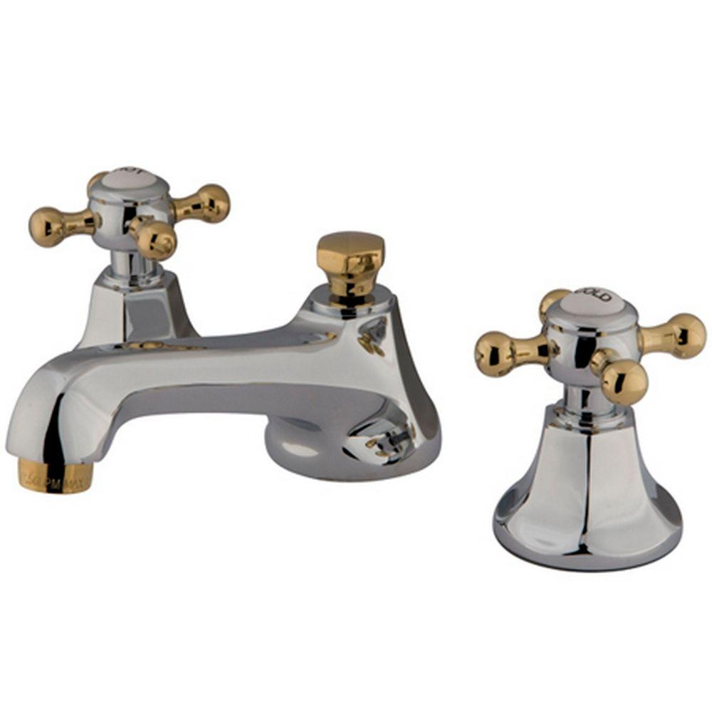 Kingston Brass 8 in. Widespread 2-Handle Mid-Arc Bathroom Faucet in Chrome and Polished Brass