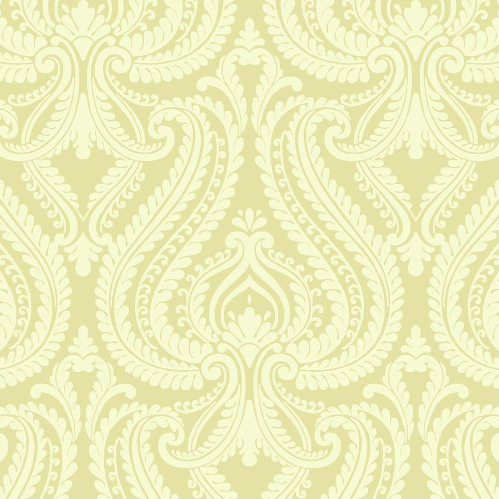 Beacon House 8 in. W x 10 in. H Imperial Green Modern Damask Wallpaper Sample