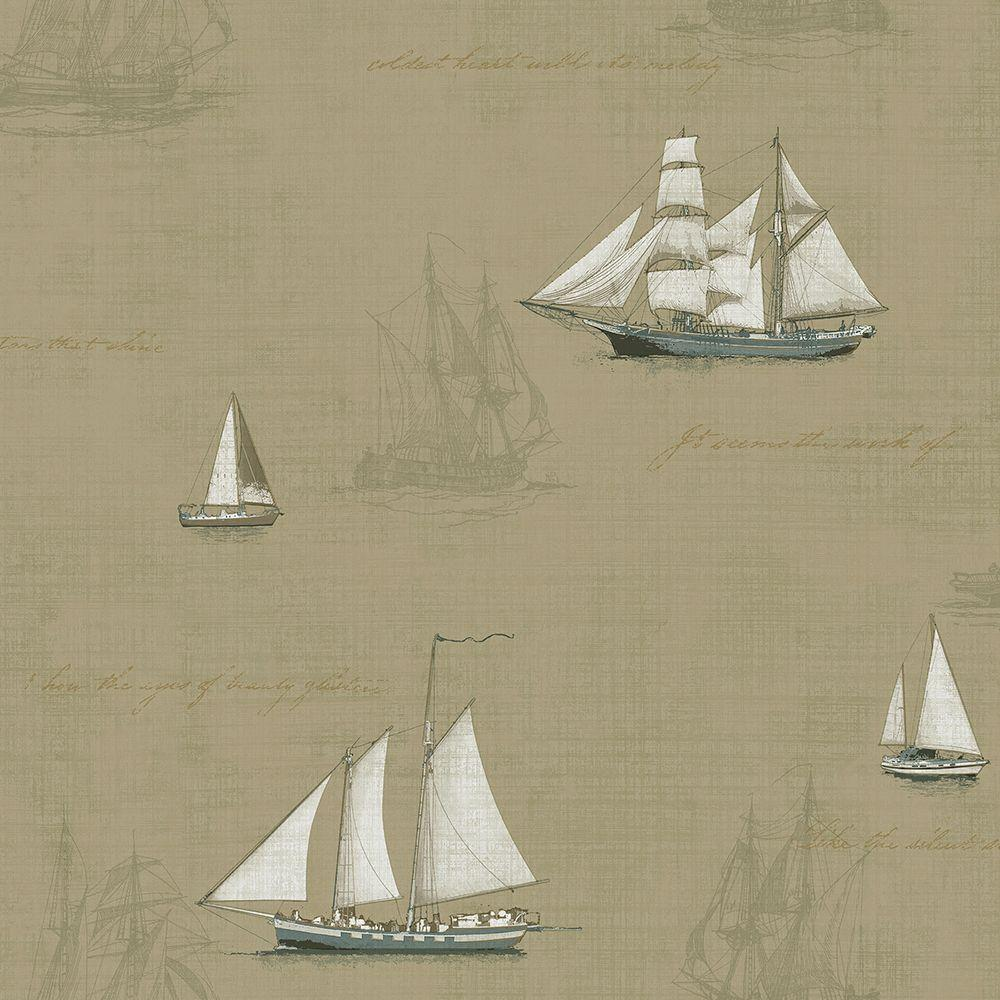 56.4 sq. ft. Andrew Wheat Ships Wallpaper