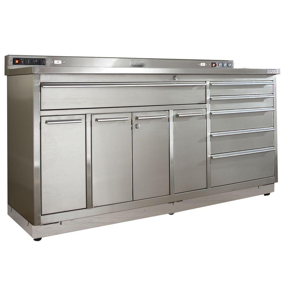 Viper Tool Storage 72 in. 6-Drawer Stainless Steel Garage Workstation Base