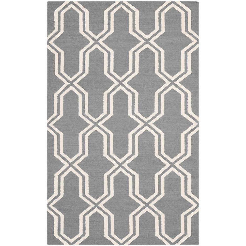 Dhurries Grey/Ivory 3 ft. x 5 ft. Area Rug