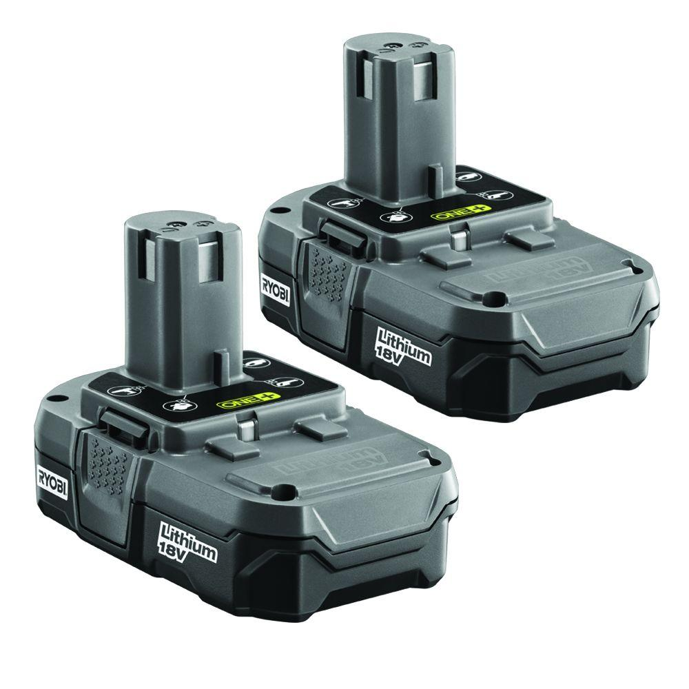 Ryobi Cordless Power Tool Batteries 18-Volt One+ Compact Lithium-Ion Battery (2-Pack) P170